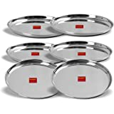 Sumeet Stainless Steel Heavy Gauge Dinner Plates with Mirror Finish 27.5cm Dia - Set of 6pc