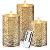 Eloer Flameless Candles Flickering Flameless Candles Set Decorative Flameless Candles Classic Real Wax Pillar With Moving LED Flame And 10-key Remote Control Hours Timer (Glass 3 set)
