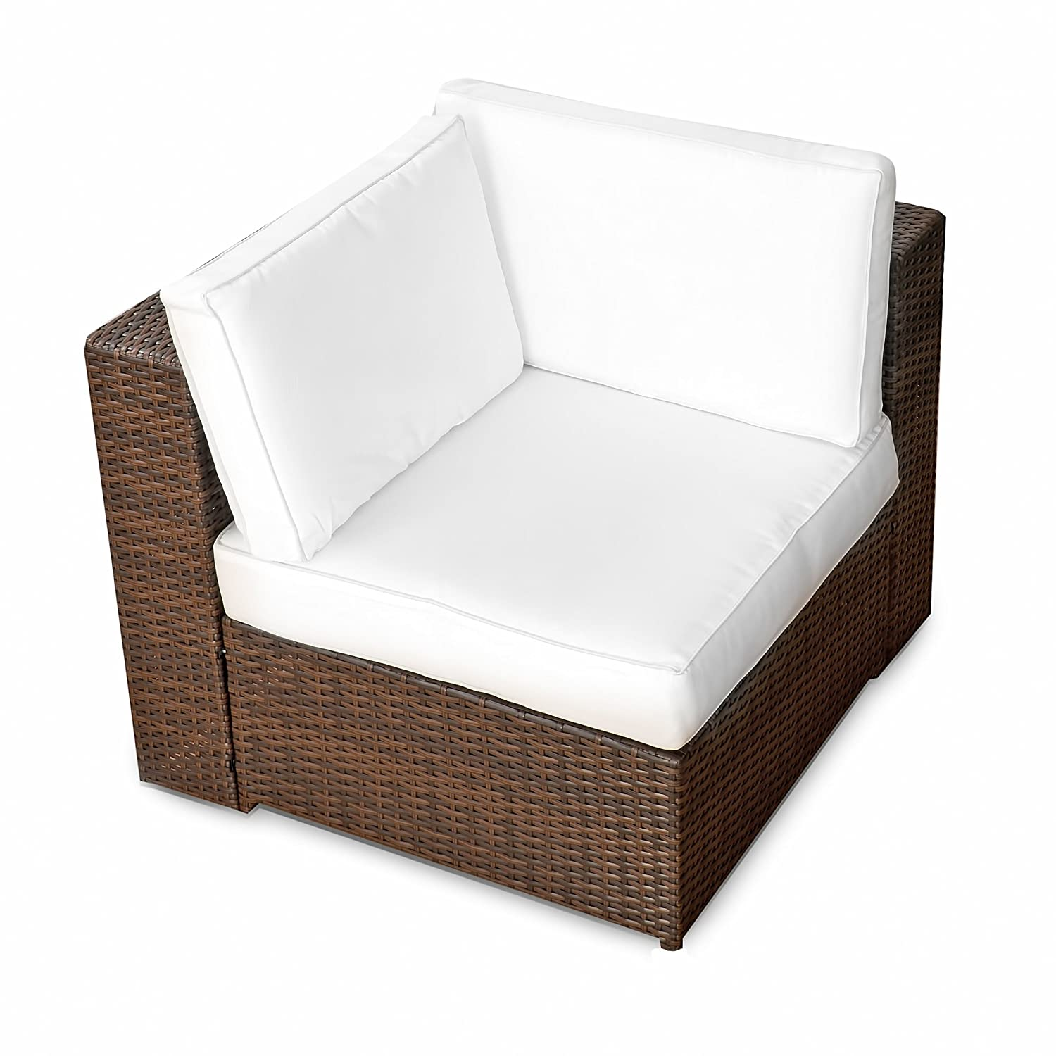 Amazon.de: (1er) Polyrattan Lounge Möbel Eck Sessel braun ...