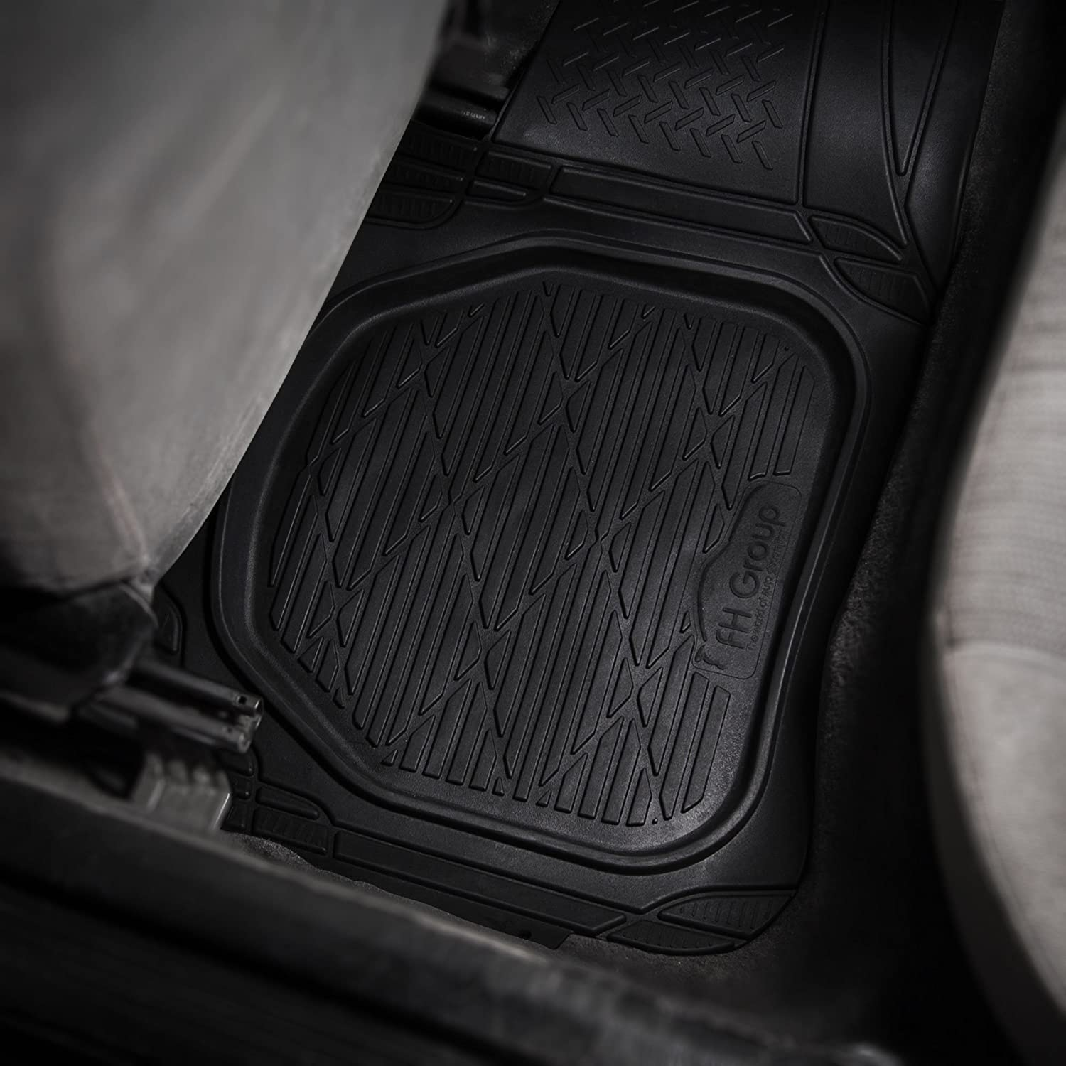 FH Group F11323GRAY Gray Front 31 x 18.5 Rear 54 x 17 Floor Mat Supreme Rubber Trimmable for Cars, SUVs, and Trucks
