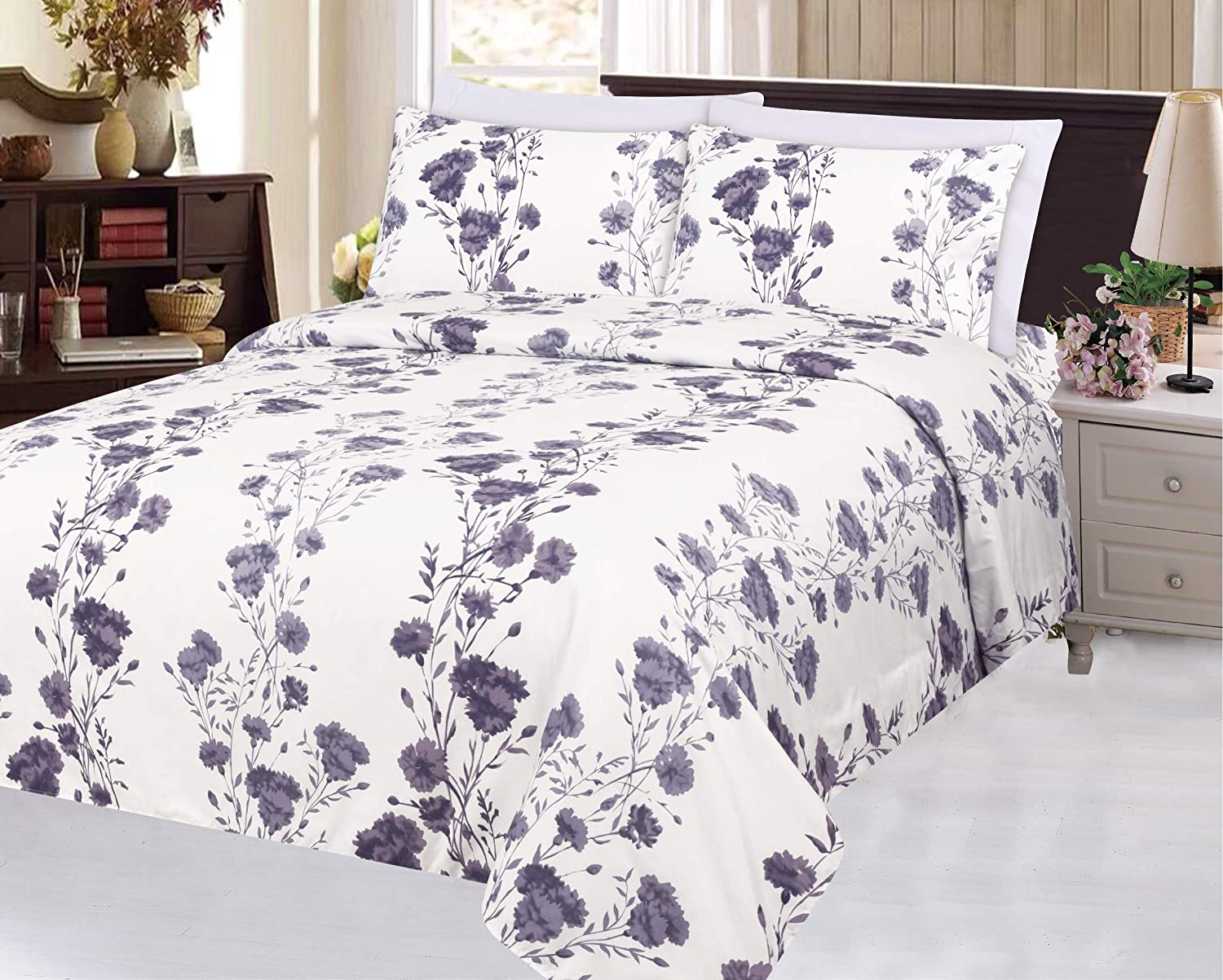 Blue Ivory Color Double//Full Size Blue Chrysanthemum Flower Pattern Bamboo Living Eco Friendly Egyptian Super Soft Bamboo 3 Pieces Duvet Cover Set with 2 Pillow Shams