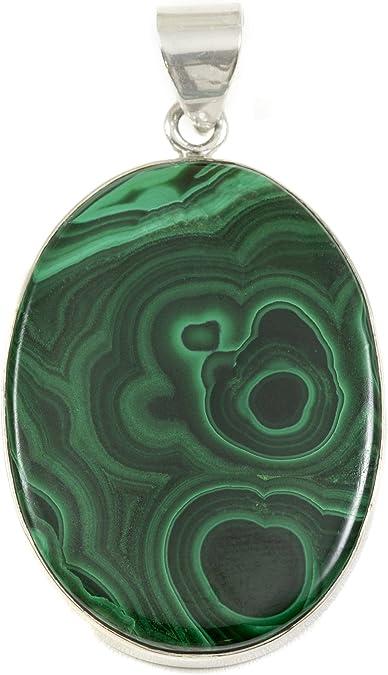 Natural Gemstone Gift Malachite Pendant Green Malachite Simple Jewelry 925 Sterling Silver Oval Gemstone Simple Pendant