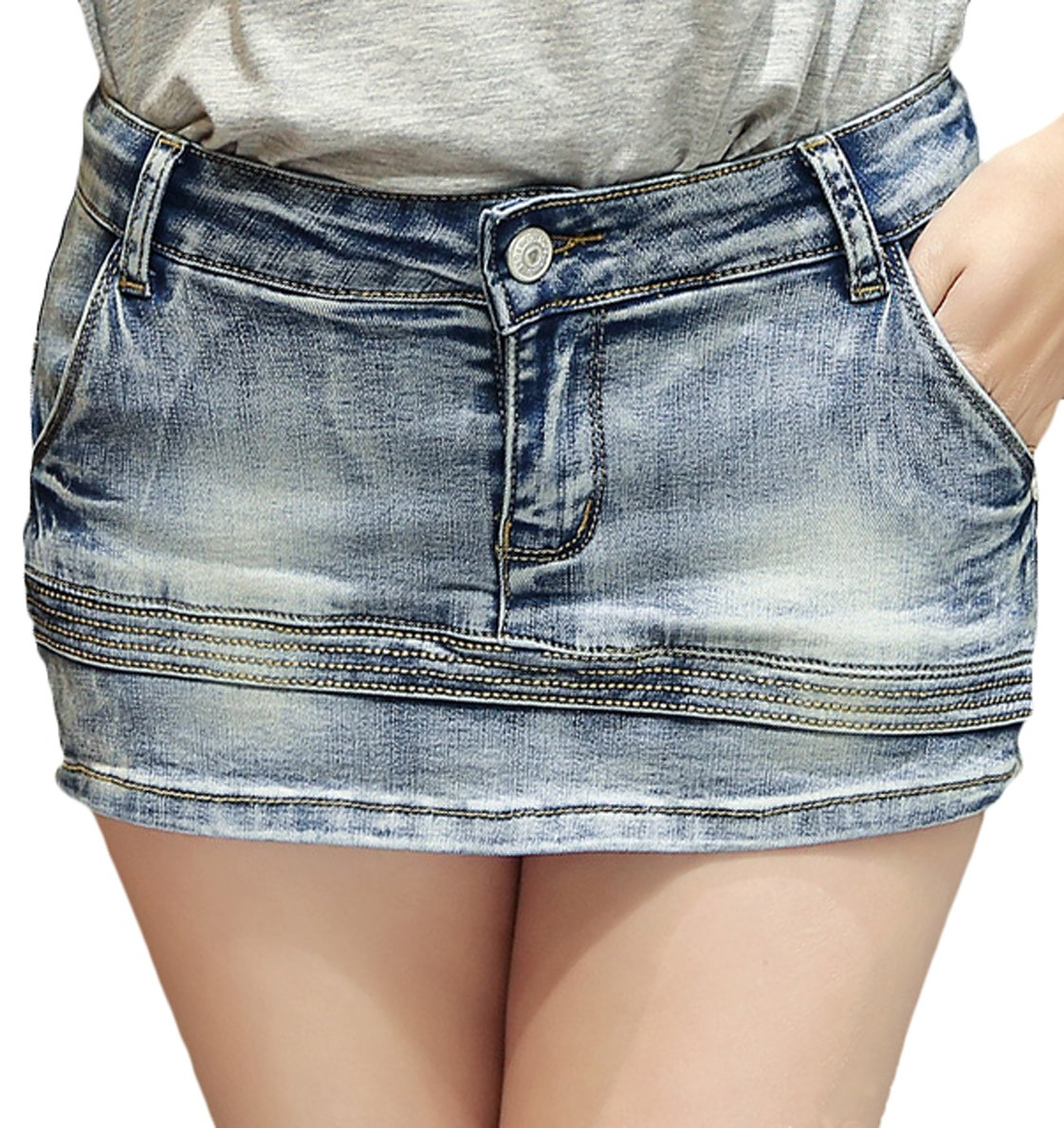 Youhan Women's Casual Slim Fitted Denim Skirt Short (Small, B/Blue)