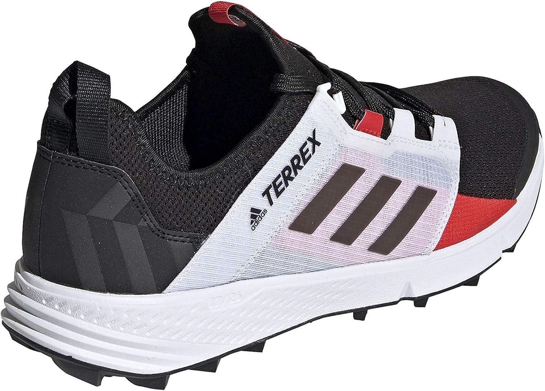 adidas outdoor Men's Terrex Speed Trail Running Shoe Black/Black/Active Red