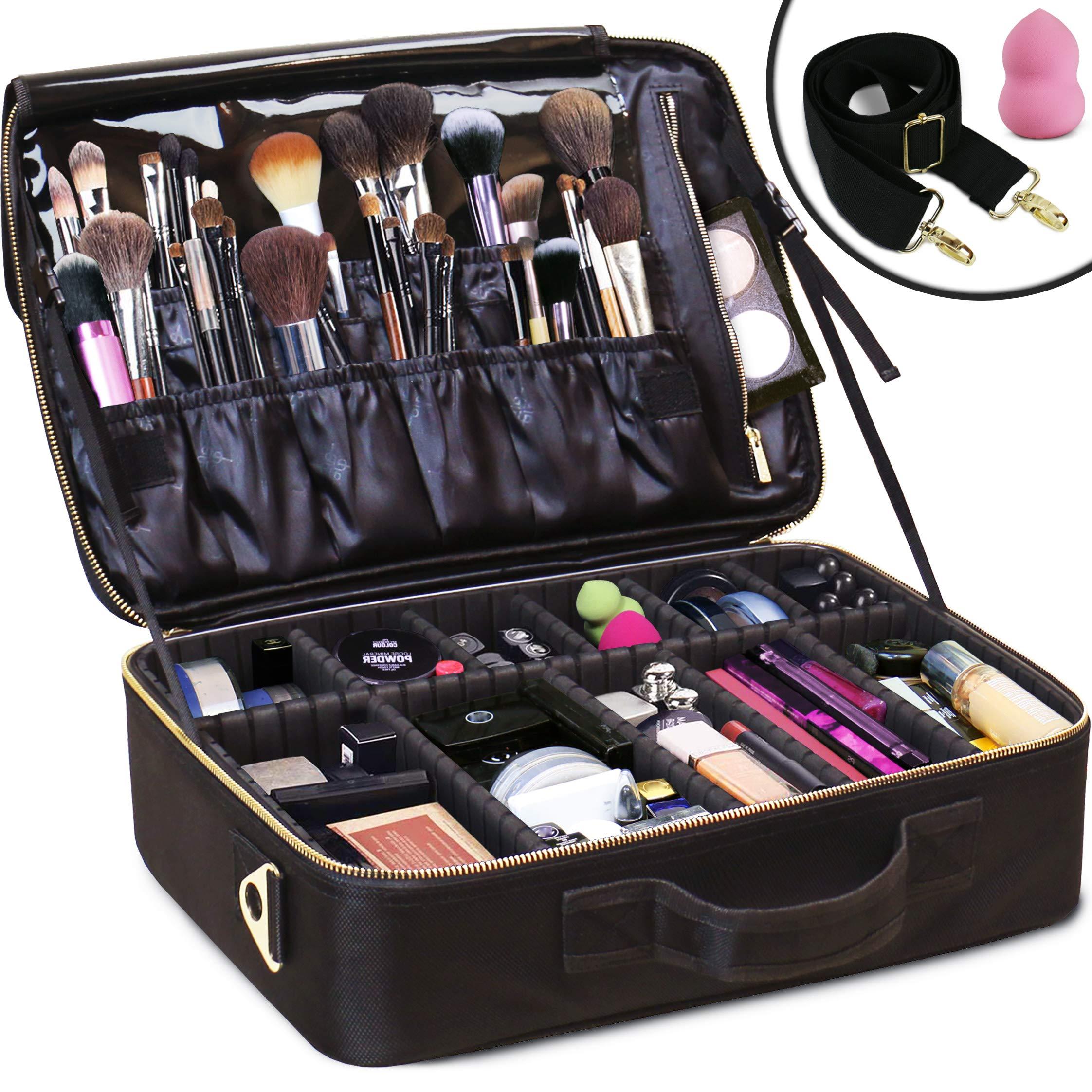 Daniel Harris Makeup Bag/Cosmetic bag   Makeup Case with Adjustable Dividers   Use as Travel Make up Bag Organizer  Portable + Water-Resistant Makeup Bags for Women + Free Makeup Sponge. (LARGE) by Daniel Harris