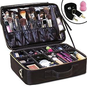 Daniel Harris Makeup Bag/Cosmetic bag   Makeup Case with Adjustable Dividers   Use as Travel Make up Bag Organizer  Portable + Water-Resistant Makeup Bags for Women + Free Makeup Sponge. (LARGE)