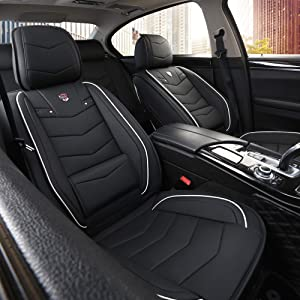 INCH EMPIRE Car Seat Cover-Water Proof Synthetic Leather Cushion with Built-in Lumbar Support Front and Back Fit for Sedan SUV Truck Hatchback Durable Use (Black with White Trim Full Set)
