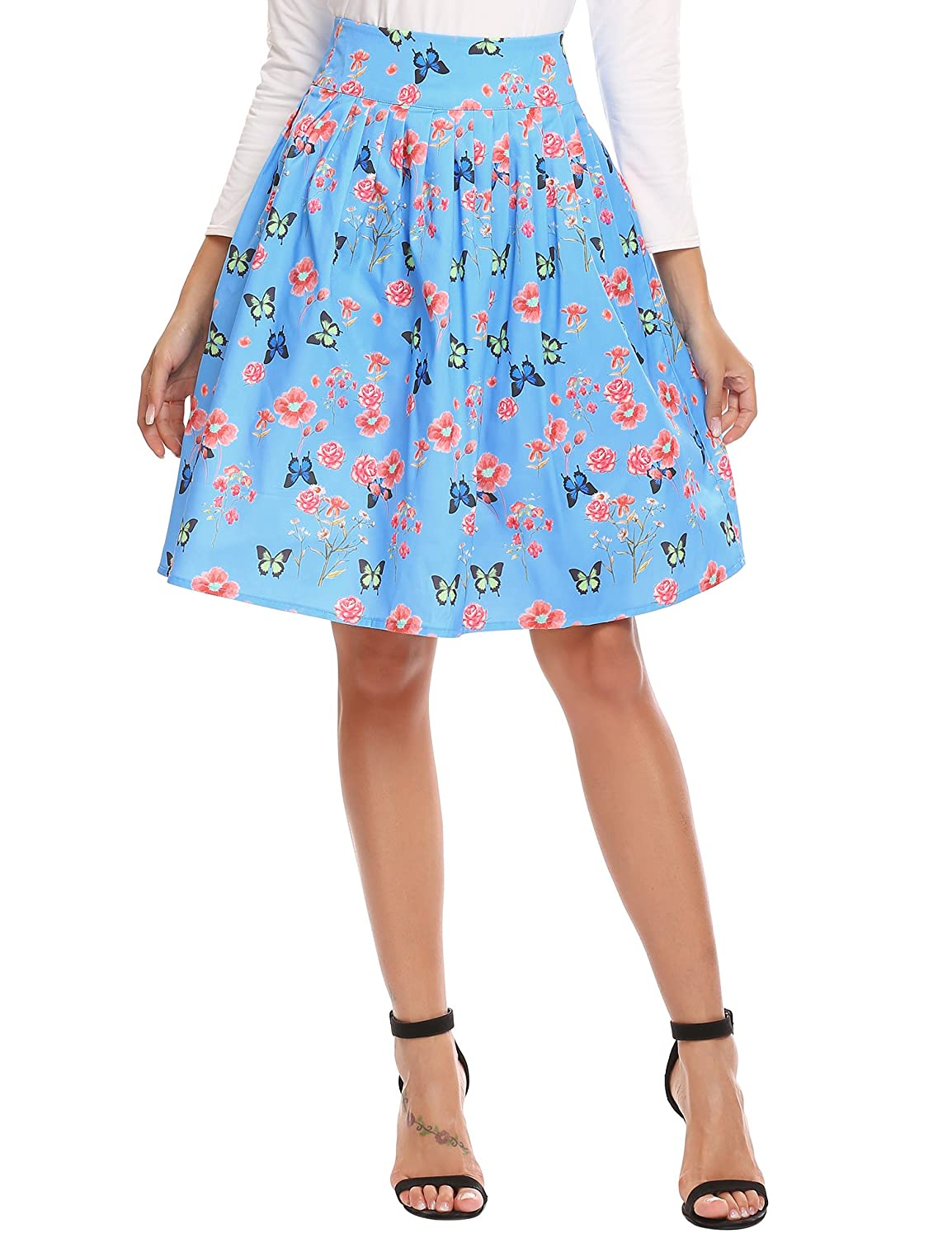 c44eb0d667 Midi A-line Pleated Floral Skirt, Women's Flare Flower Print Vintage High  Waist Knee Length Flowy Skirts for Girls Sky Blue Small at Amazon Women's  Clothing ...