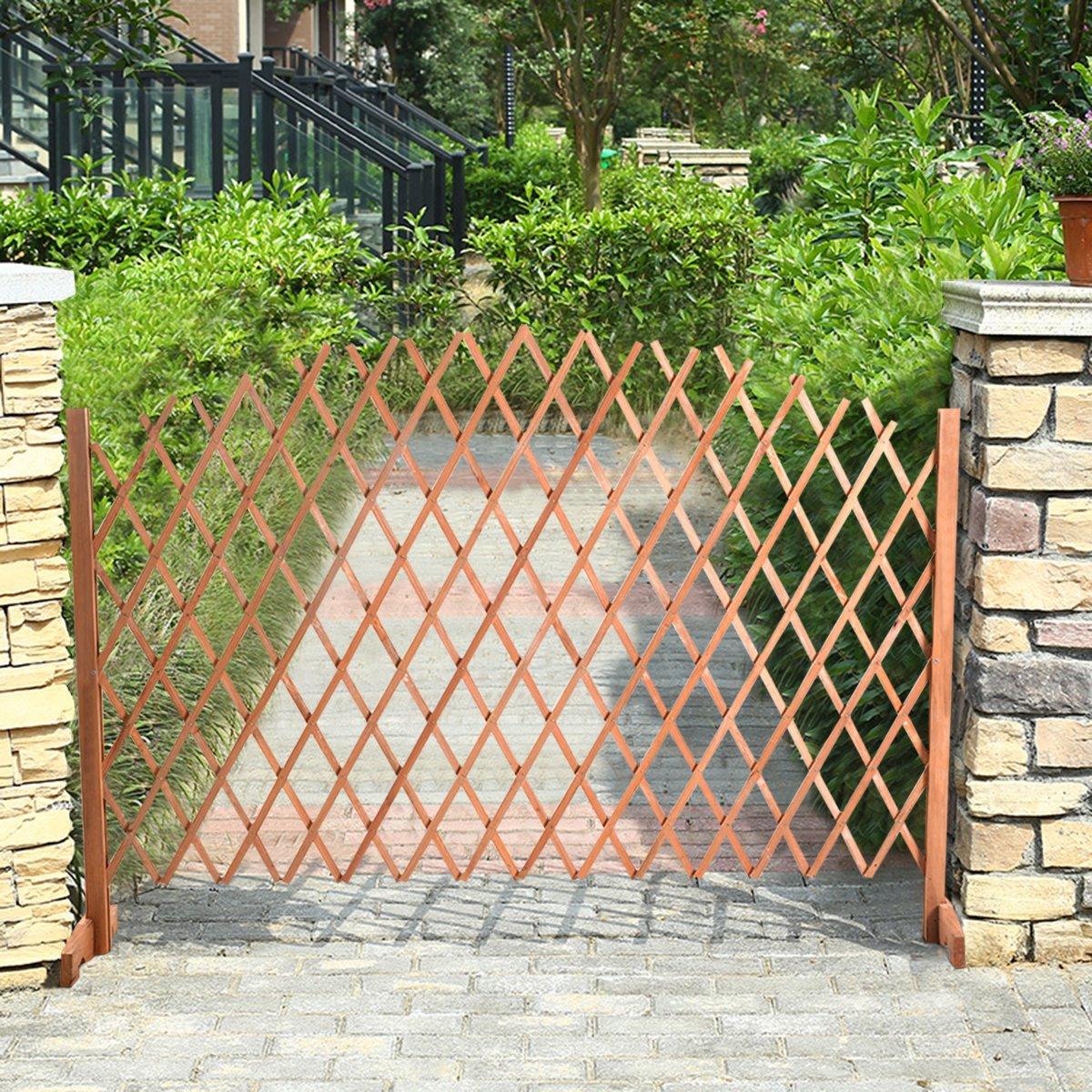 Costway Expanding Trellis Wood Fence - Growing Support 1.80 m x 1.18 m Garden Screen Divider - Adjustable Growing Wooden Freestanding … (1.80)