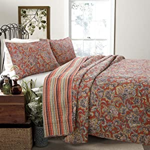 Cozy Line Home Fashions Lara Spice Paisley 3-Piece Quilt Bedding Set, Red/Brown/Floral Flower Vintage Printed 100% Cotton Reversible Coverlet for Women (Brick Red, King - 3 Piece)