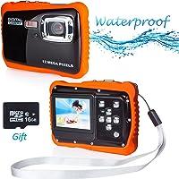Waterproof Digital Camera, FLAGPOWER 5MP CMOS Sensor/ 12MP HD Potos/720P HD Video Function Underwater Action Camera Camcorder 16G SD Card 2.0'' Color LCD Display Flash Mic