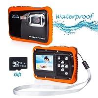 """Wasserdichte Kamera für Kinder, Kinderkamera Wasserdicht bis 3 Meter Digitalkamera mit 4x Digitaler Zoom/ 12MP HD Fotos/ 720P HD Videofunktion/ 5 MP CMOS Sensor/ 2"""" TFT LCD Bildschirm mit 16GB MicroSD-Speicherkarte"""