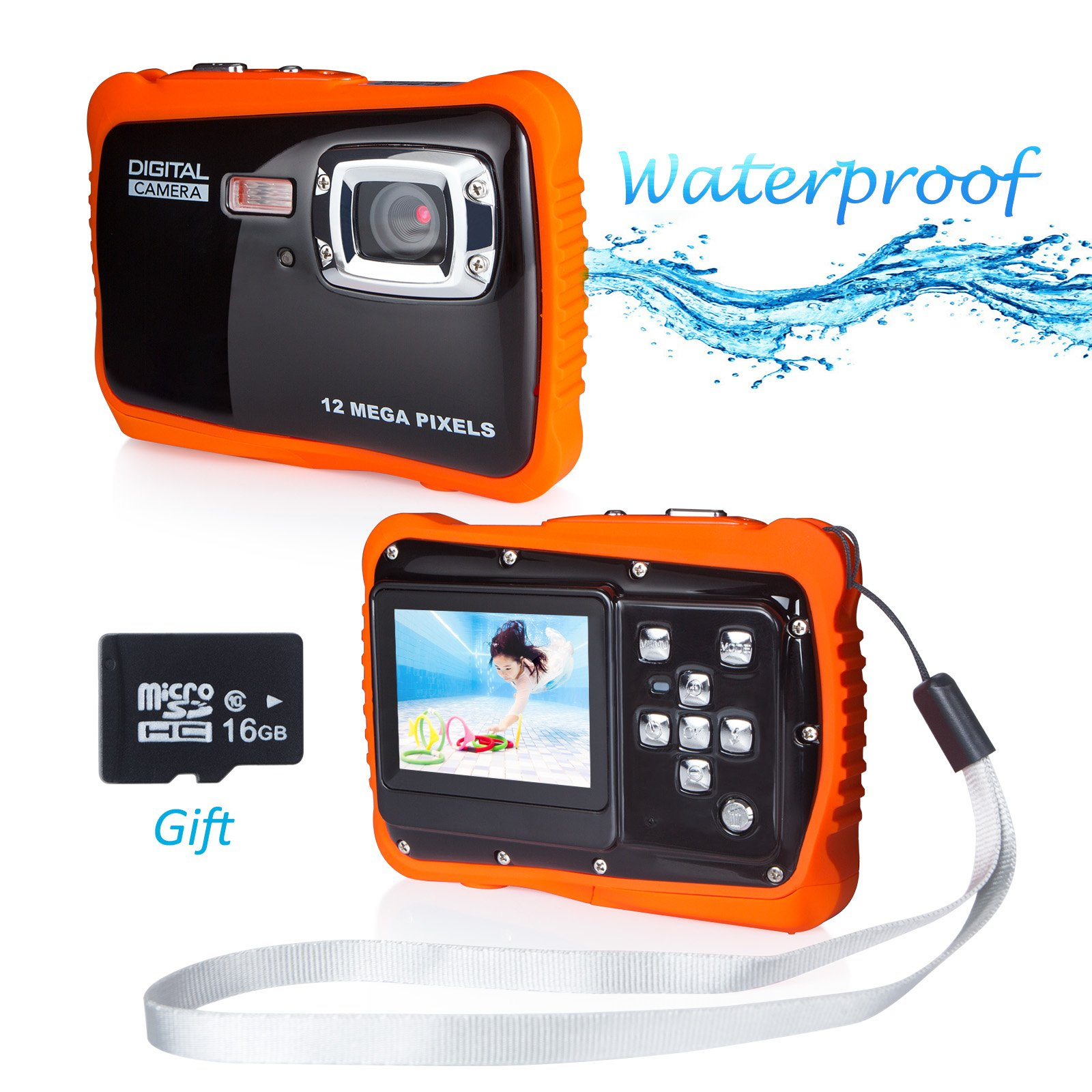 Waterproof Digital Camera, FLAGPOWER 5MP CMOS Sensor/ 12MP HD Potos/720P HD Video function Underwater Action Camera Camcorder with 16G SD card 2.0'' Color LCD Display Flash and Mic