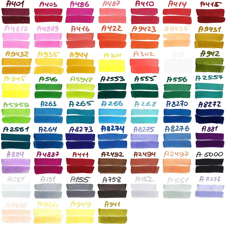 fina y biselada Rotuladores de alcohol para mezclas y capas   60 colores vivos ARTEZA EverBlend Set de rotuladores mezcladores de doble punta Incluye un pr/áctico malet/ín