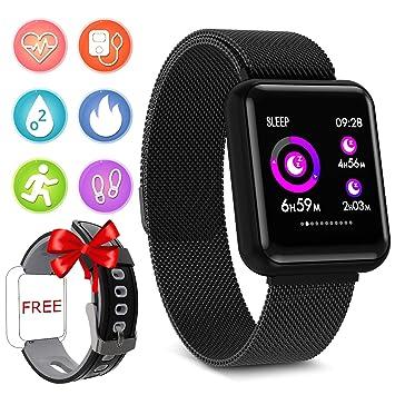 YENISEY Pulsera Actividad Reloj Fitness Pulsera Deportiva Fitness Tracker con Monitor de Sueño Impermeable IP67 Reloj con Pulsómetro Podómetros ...
