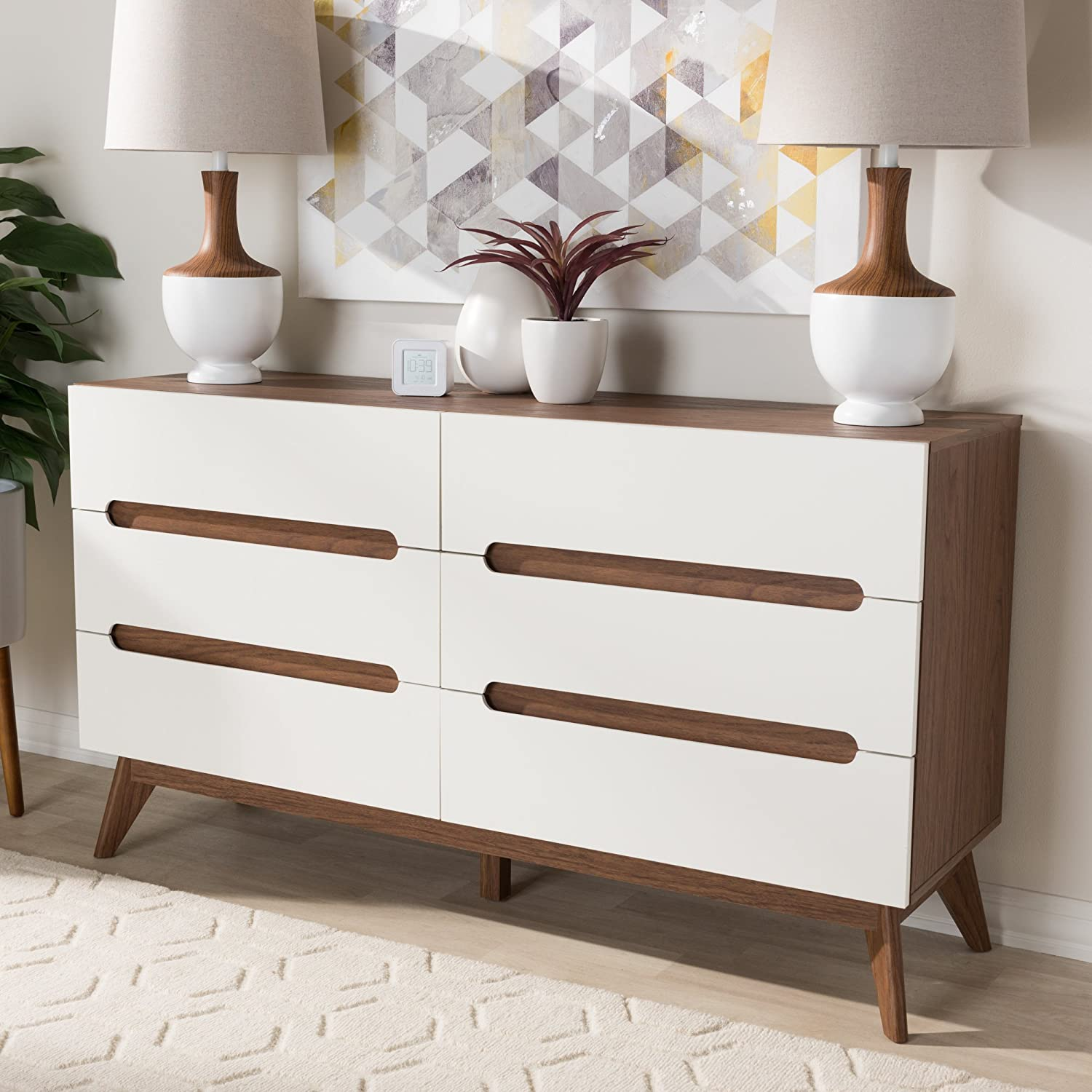 Baxton Studio Calypso 6 Drawer Double Dresser in White and Walnut
