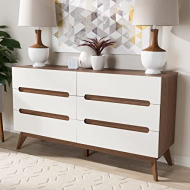 Baxton Studio Calypso 6 Drawer Double Dresser in White and Walnut