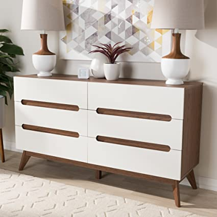 Amazon Com Baxton Studio 6 Drawer Storage Dresser In White And