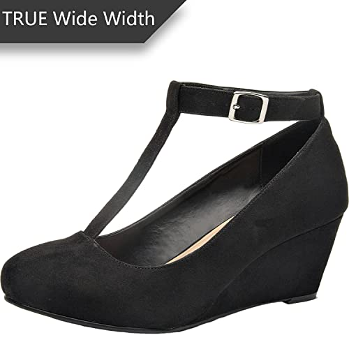 c78e4aa433da Luoika Women s Wide Width Wedge Shoes - Mary Jane Heel Pump with T-Strap.