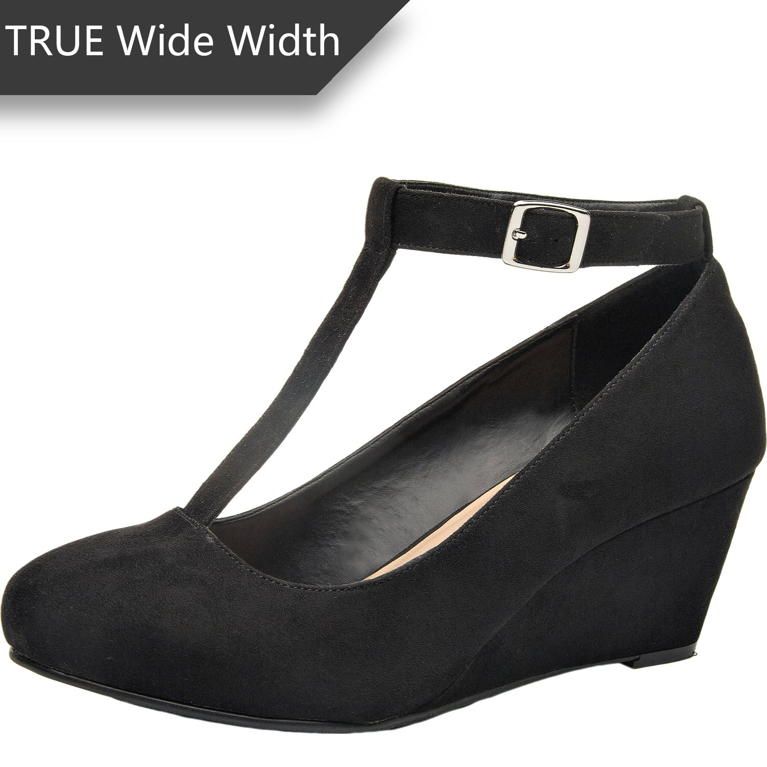 Luoika Women's Wide Width Wedge Shoes - Mary Jane Heel Pump with T-Strap. (Black 180310,11.5WW)