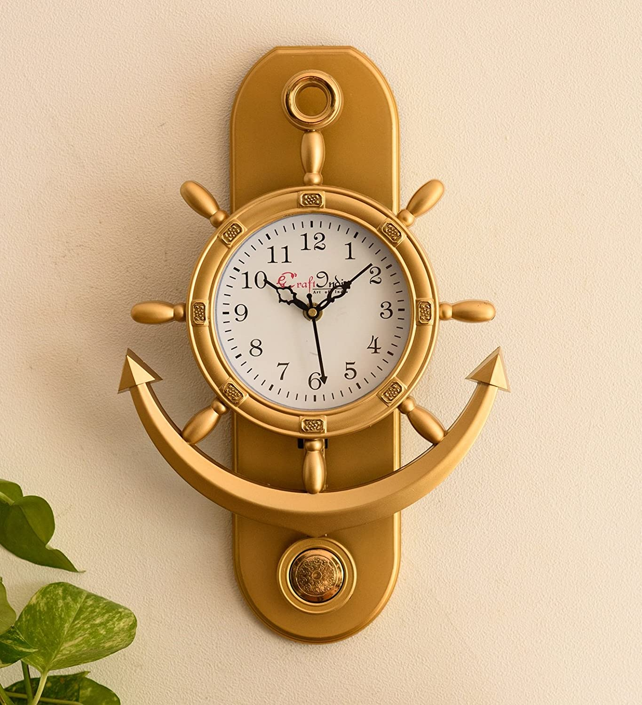 eCraftindia Decorative Retro Anchor Golden Pendulum Wall Clock