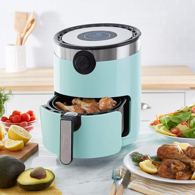 Dash DMAF360GBAQ02 AirCrisp Pro Electric Air Fryer Oven Cooker with Digital Display 8 Presets, Temperature Control, Non Stick Fry Basket, Recipe Guide Auto Shut Off Feature, 3qt, Aqua