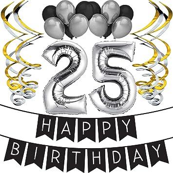"""Sterling James Co. Paquete para Fiesta de Cumpleaños Número 25 """"Happy Birthday""""- Paquete con Banderín de Feliz Cumpleaños Negro y Plateado, Globos y ..."""