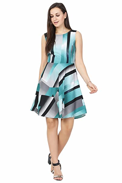 5340ca3bc67 Galaxy Trends Turquoise Printed Polycrepe Women s Dress-Above Knee Length