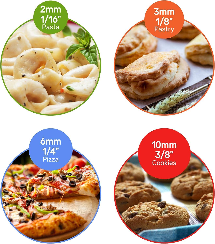 antiadherente galletas para pizza pasteler/ía 40 cm con anillos desmontables Super Kitchen Rodillo de amasar ajustable de acero inoxidable en 5 tama/ños