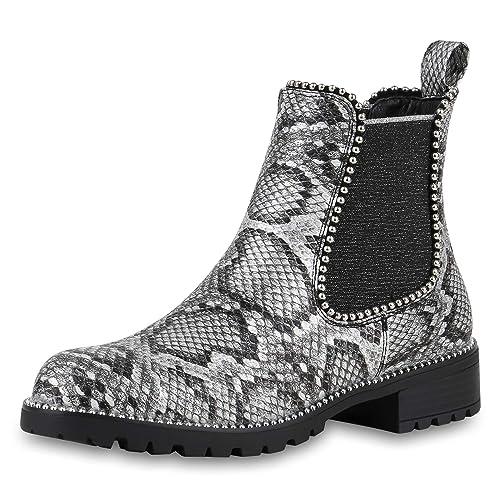SCARPE VITA Damen Stiefeletten Chelsea Boots mit Blockabsatz