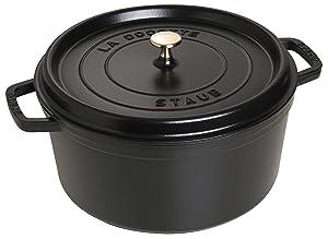 Staub Cast Iron 9-qt Round Cocotte - Black Matte