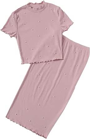 Verdusa Women's Mock Neck Pearls Beaded Top & Midi Skirt Set