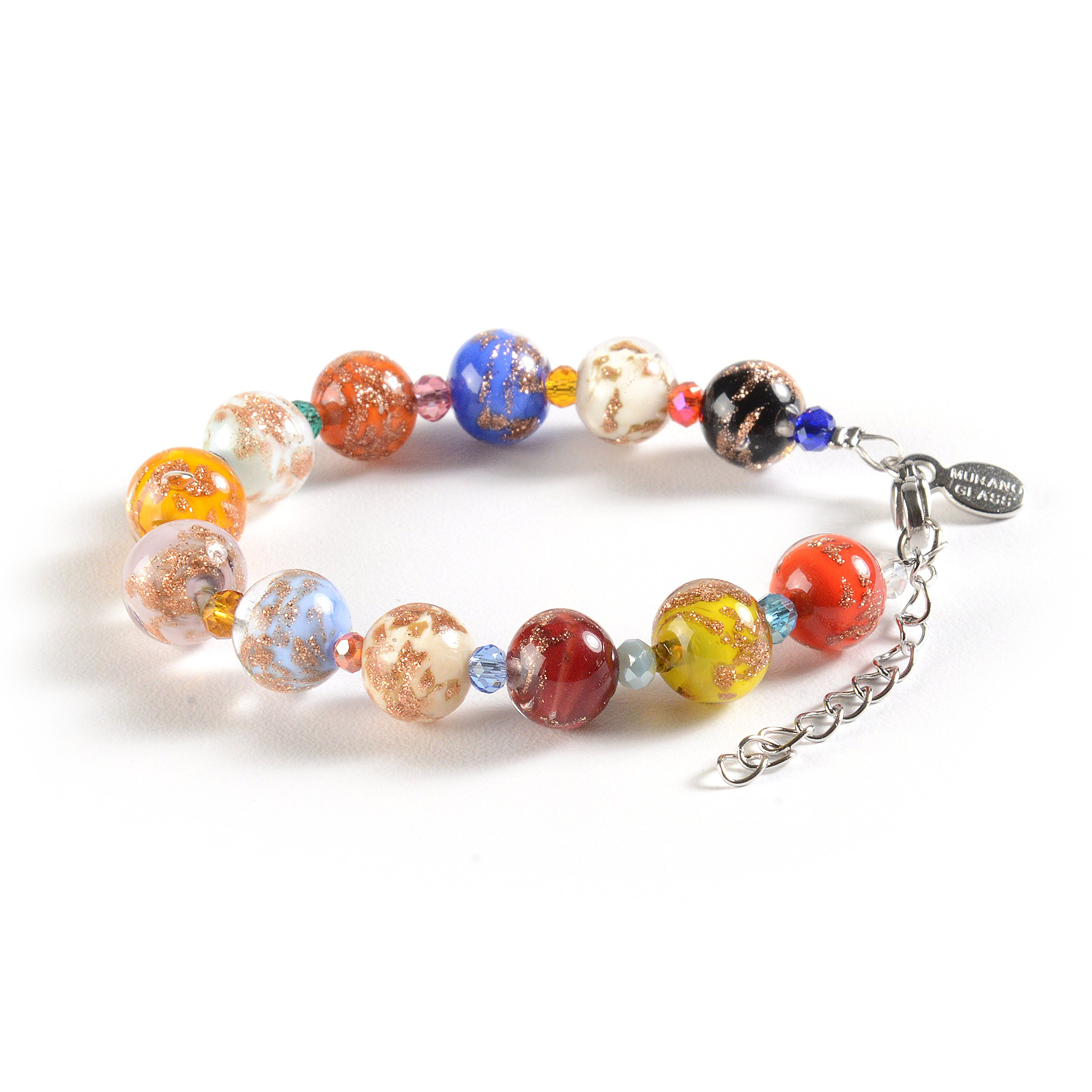 Murano Glass Jewelry, Handmade Vibrant Murano Glass Beads, Hypoallergenic Zamak Clasp, Each Murano Charm Bead is Unique, Colorful, and Exquisite - Murano Glass Bracelet for Women, Imported