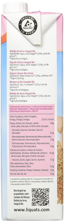 Monsoy - Bebida Ecológica de Arroz Integral - Caja de 4 x 1L