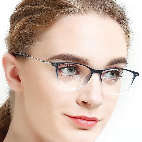 f9bf8bb9baa Womens Blue Light Block Eyewear Frames Rectangle Lightweight  Non-Prescription Eyeglasses with Clear Lenses