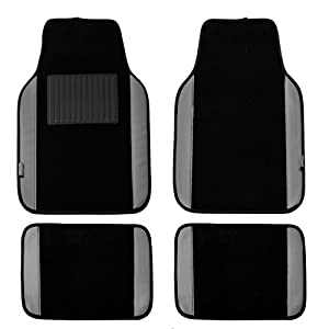 FH Group Gray/Black Universal Fit Carpet Floor Mats with Faux Leather for Cars, coupes, Small suvs F14408GRAYBLACK