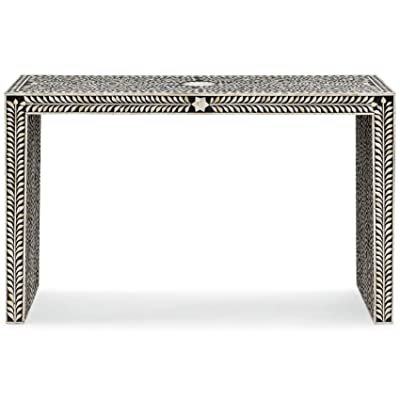Kathy Kuo Home Ananda Global Bazaar Black And Cream Bone Inlay Console Table