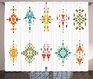 Ambesonne Tribal Curtains, Abstract Style in Colorful Design Vintage Old Illustration, Living Room Bedroom Window Drapes 2 Panel Set, 108
