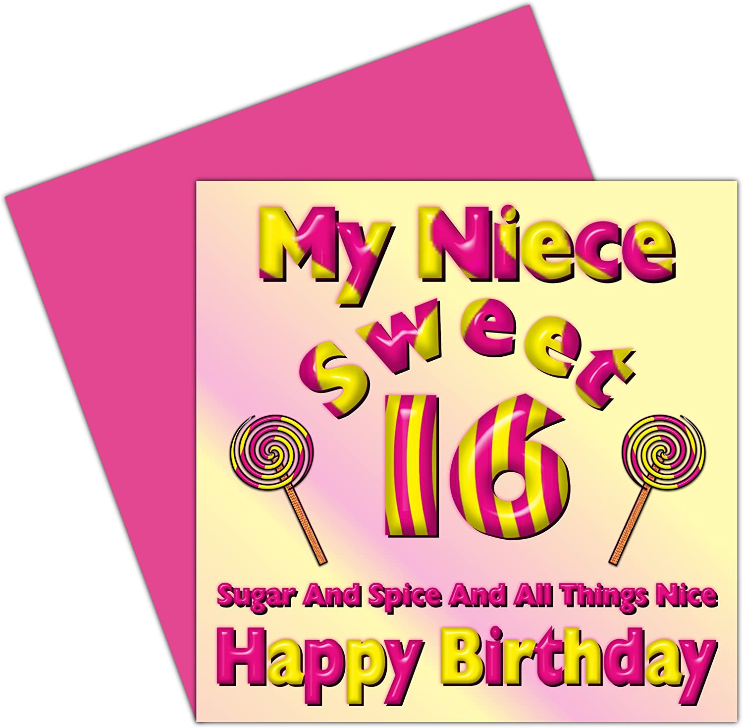 My Niece Sweet 16 Happy Birthday Card 16th Birthday Sixteen Today Candy Card Design Amazon Co Uk Office Products