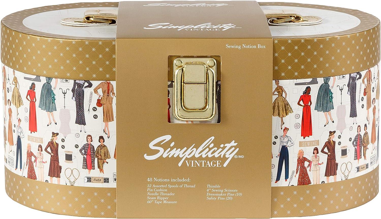 Beige Einheitsgr/ö/ße Pappe Simplicity Aufbewahrungsbox f/ür N/äharbeiten Mehrfarbig Vintage-Stil