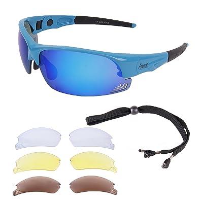 Rapid Eyewear Edge Bleu LUNETTES DE SOLEIL POUR CYCLISME ET COURSE A PIED  UV400 avec verres miroir interchangeables polarisée et cordon. 0c625b16f5c9