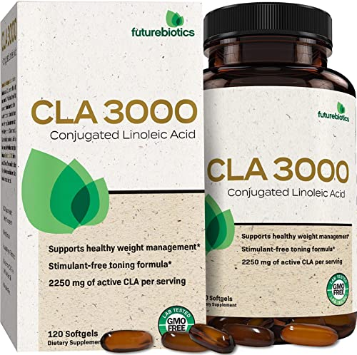Futurebiotics CLA 3000 Extra High Potency Naturally Supports Healthy Weight Management, Increase Lean Muscle Mass – Non-Stimulating Conjugated Linoleic Acid, Non GMO, 120 Softgels