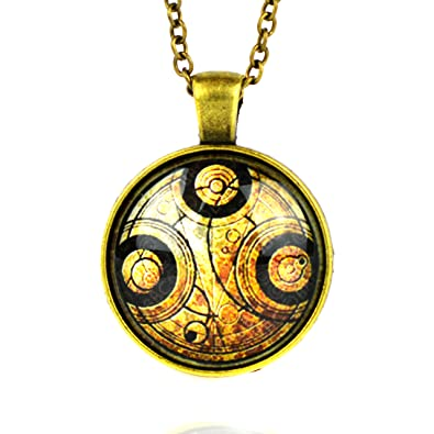 The Doctor Blue Time Lord Gallifreyan Stainless Steel and Glass Cabochon 8mm Earrings UxLLS