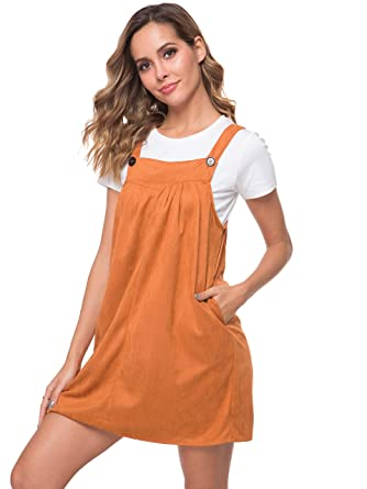 3a666293b7d8e Missufe Women's Casual Loose Bib Pleasted Apron Dress with Pockets