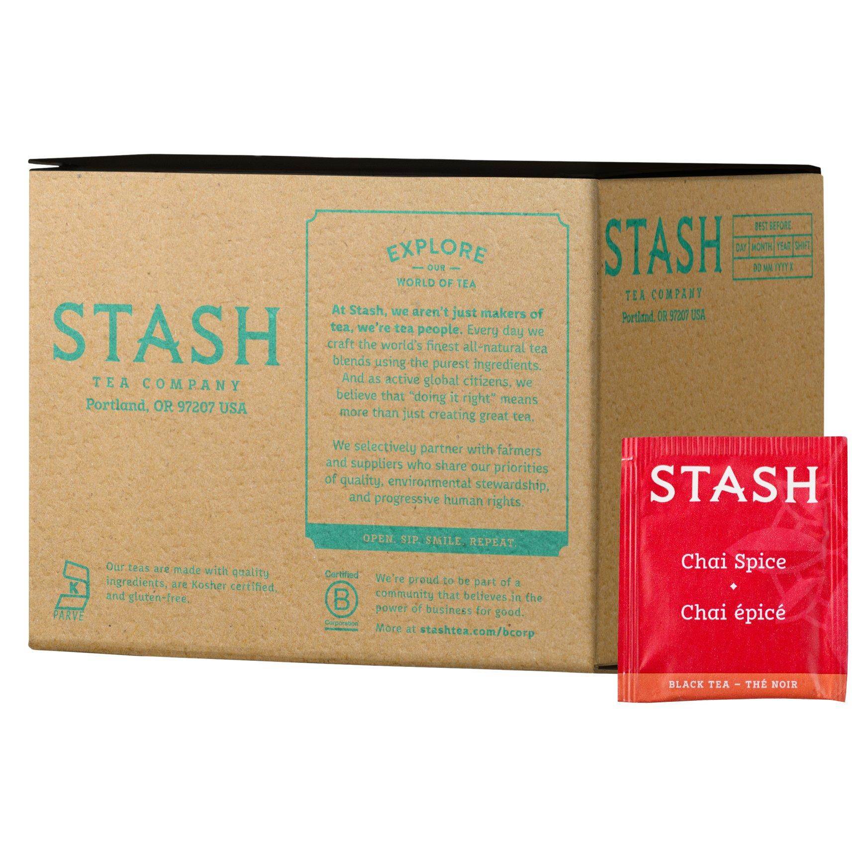Stash Tea Chai Spice Black Tea, 100 Count Box of Tea Bags in Foil