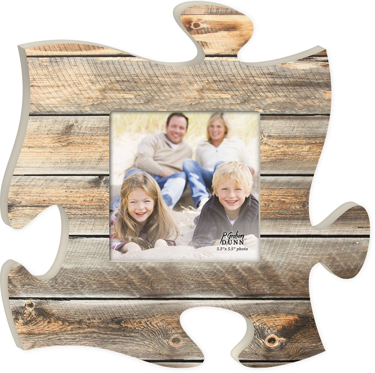Distressed Light Wood Look 12 x 12 inch Wood Puzzle Piece Wall Sign Frame Plaque
