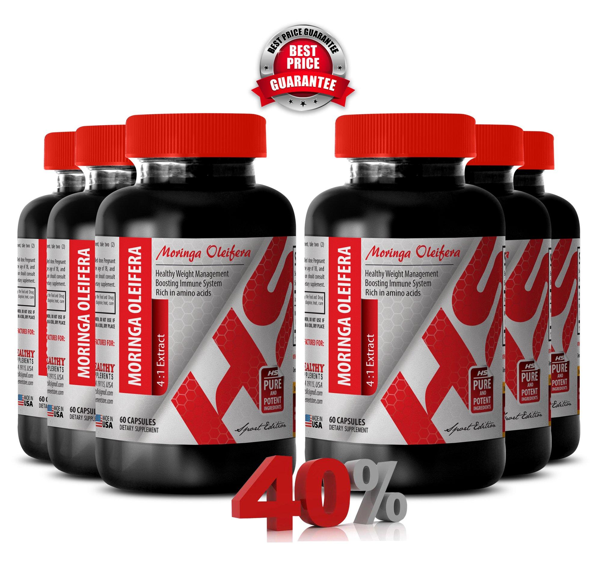 Moringa capsules - MORINGA OLEIFERA LEAF POWDER 1200 MG 4:1 EXTRACT - increase energy levels (6 Bottles)