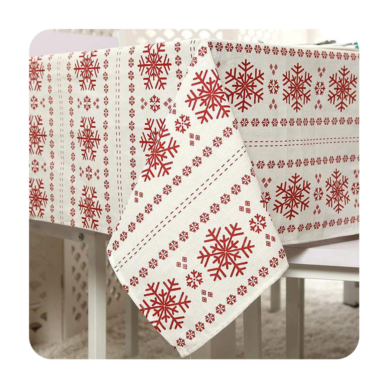 Zalin レッド 雪の結晶 プリント テーブルクロス クリスマス 新年 フェスティバル 長方形 テーブルクロス マントル トバギー 140 180cm SB-122 140 180cm Big Snowflake B07Q8JXZ5G