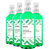 Amazon Brand - Solimo Anticavity Fluoride Rinse, Alcohol Free, Mint, 18 Fluid Ounces (Pack of 4)