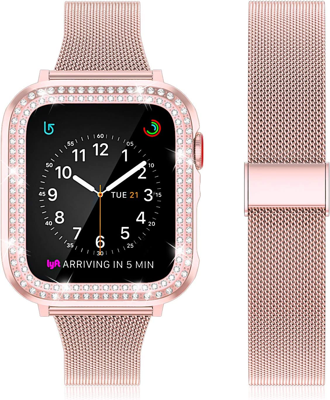 Beuxece Stainless Steel Mesh Band Compatible with Apple Watch Bands Series SE/6/5/4/3/2/1 with Diamond Case, Mesh Band Slim Metal for iWatch 38mm 40mm 42mm 44mm Bracelet Replacement,PInk,44mm